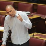 Varoufakis speaks in parliament, before his resignation as Finance Minister