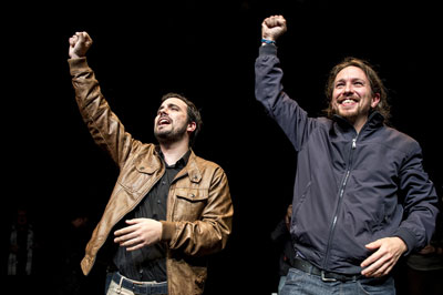 Alberto Garzon (Izquierda Unida) and Pablo Iglesias (Podemos) on their joint electoral platform