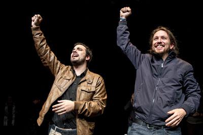 Alberto Garzon (Izquierda Unida) and Pablo Iglesias (Podemos) on their joint electoral platform