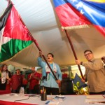 Venezuela and the Palestinians exchange flags, Nov 2014, in Caracas.