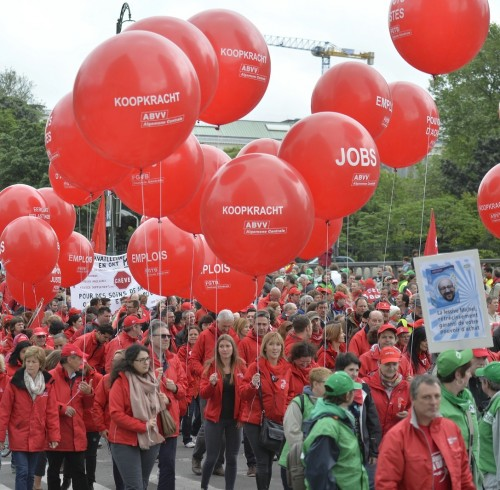 A political strike and demonstration in Belgium