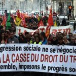 Demonstration for the preservation of the labour rights in France.