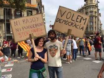 Young Catalans demonstrating