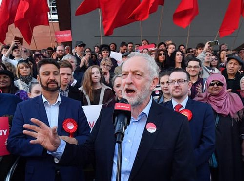 Jeremy Corbyn campaigning for Labour