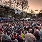 People take decisions via mass assemblies in the movement Nuit Debout, Paris, 10.5.2016