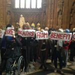 Demonstration against the cuts in benefits for persons sick or unemployed in the UK