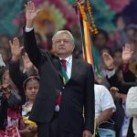 Lopez Obrador salutes the crowds on the day of his inauguration, 2.12.18
