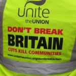 A yellow jacket from Unite the Union in the United Kingdom, Jan 2019.