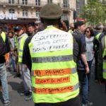 May Day 2019 demo in Paris. The Gilet jaune's jacket refers to the 'souffrance' of this 'sous-France'.