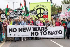 CND banner in anti war demonstration