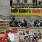 Demonstrators denounced Trump's offers of a Trade Deal