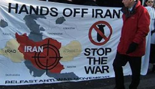 Banner of the Belfast ant-war movement. It bears the StopTheWar logo