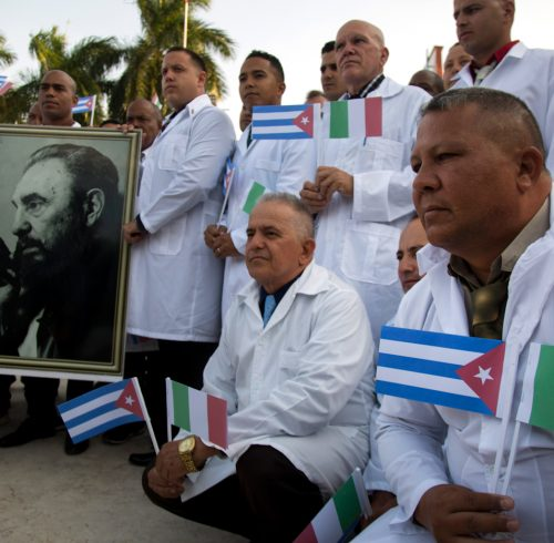Cuban doctors arrive in Italy, March 2020