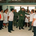Fidel Castro visiting doctors in Buenos Aires May 2003