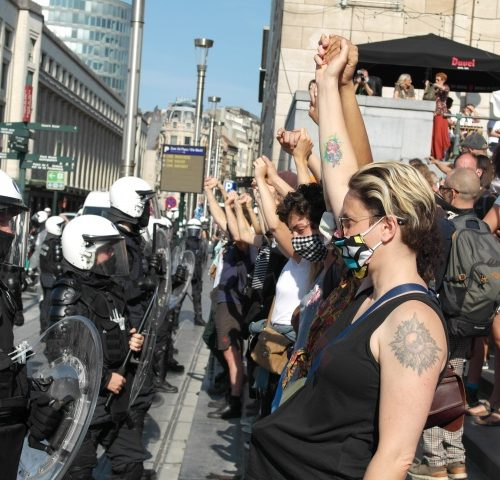 Demonstration in Brussels in Sept 2020 against the mismanagement of the Pandemic by the government
